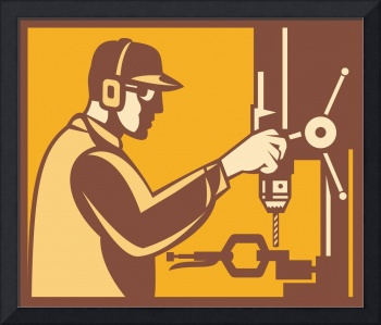 Factory Worker Operator With Drill Press Retro