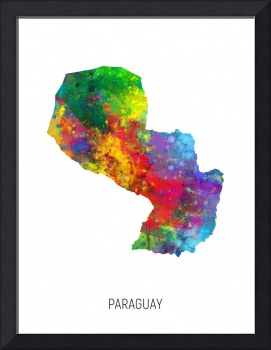 Paraguay Watercolor Map