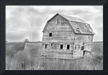 Rustic Barn Lightning Strike BW Fine Art Photo