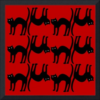 cat pattern, isolated on red background