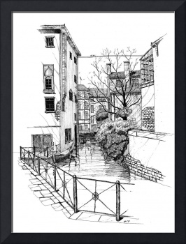 Venice Canal - Pen & Ink