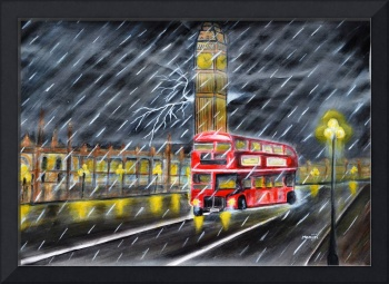 Red Bus in London night rain