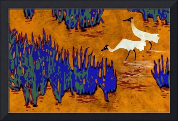 whooping cranes screenprint