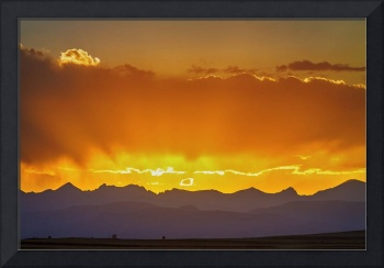 Colorado Rocky Mountains Golden Sunset Sky