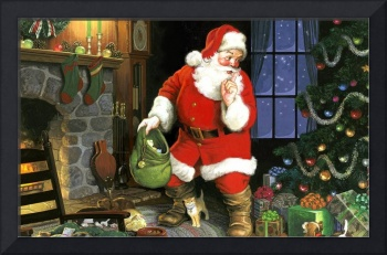Santa Claus Leaving Presents By The Tree