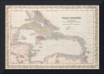 Vintage Map of The Caribbean (1857)