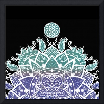 Teal Purple & White Decorative Flower Of Life Mand