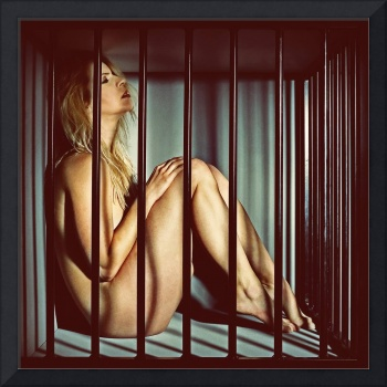 woman in a cage. Image in old vintage movie style