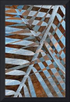 Palm patterns in rust and blue