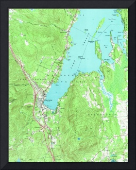Vintage Map of Lake George New York (1966)