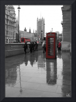 London: Red phone box and Westminster