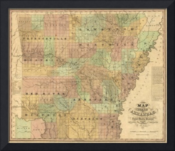 Vintage Map of Arkansas (1839)