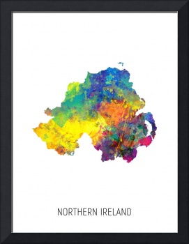Northern Ireland Watercolor Map