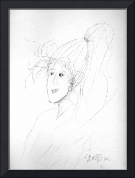 sketch of a woman with windswept hair and long pon