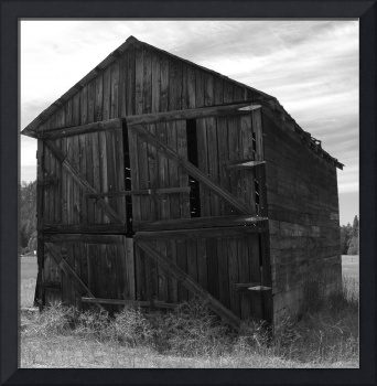 Weathered Barn In B&W