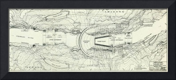 Vintage Map of The Hoover Dam (1930)