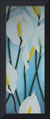 Seven Peace Lilies on blue Wall