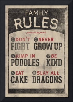 Jump In Puddles Family Rules Wall Art