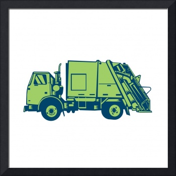 Garbage Truck Rear End Loader Side Woodcut