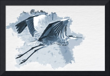 Great Blue Heron Over Wetlands Water Color