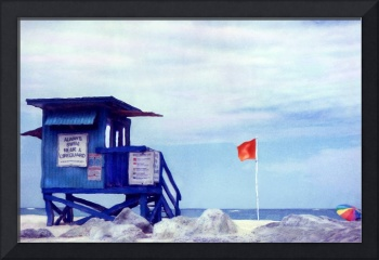 Miami FL, Lifeguard Stand on the Rocks