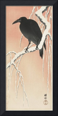 Crow on Snowy Branch II by Ohara Koson