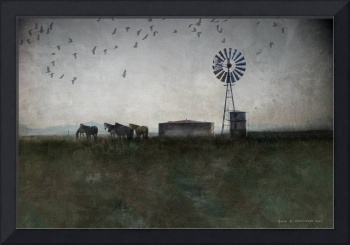 windmill, horses and crows