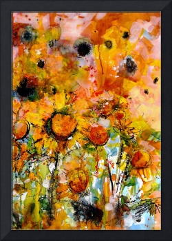 Abstract Sunflowers Watercolor & Ink by Ginette Ca