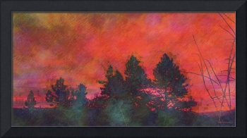 Red Sky Pines and Plum Branches