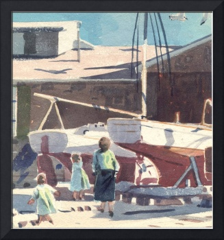 Mom and Kids in Boat yard