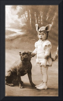 Little Girl in Costume with Pitbull