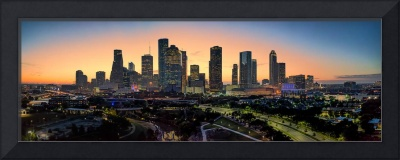 Houston Skyline  Sunrise Glow Pano