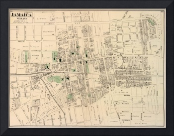 Vintage Map of Jamaica Queens (1873)