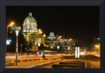 Serbian parlament at night, Belgrade, Serbia-photo