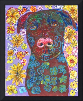 Chocolate Lab Flower Dog