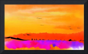 Orange Abstract Sunset