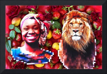 Woman and a lion in a fruit salad