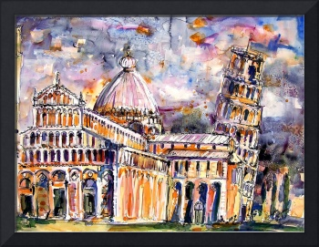 Pisa - Italy Watercolor & Ink Painting
