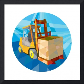 Forklift Truck Materials Box Circle Low Polygon