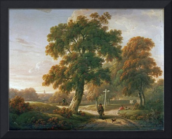 Charles Towne~Travellers at a Crossroads In a Wood