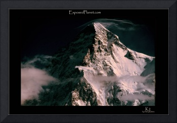 summit pyramid of K2, Pakistan with clouds