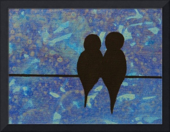 Birds on a Wire in Blue