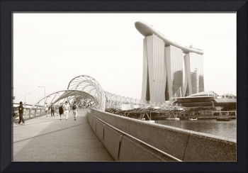 City Singapore in monochrome - marina bay sands