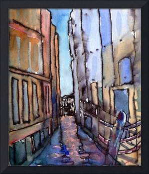 Narrow Canal Venice, Original Watercolour Painting