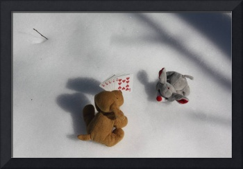 Dog and mouse playing poker