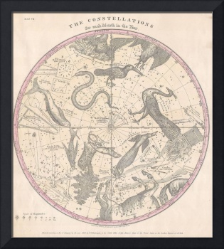 Burritt Map of the Southern Hemisphere (1856)