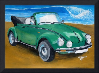Green VW bug at beach