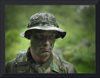U.S. Special Forces soldier with camouflage face p