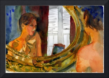 Female Nude ART Print | Watercolor | Mirror
