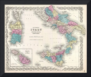 Vintage Map of Southern Italy (1855)